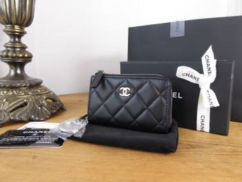 Chanel Small Classic Zipped Coin Keyring Pouch Purse in Black Lambskin with Silver Hardware - New