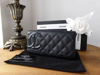 Chanel Cambon Ligne Continental Flap Wallet in Matte Black Quilted Calfskin