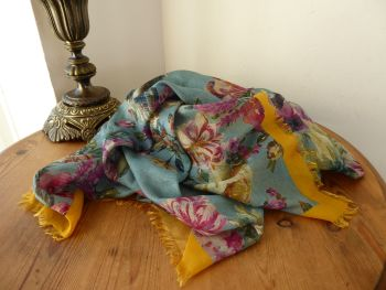 Mulberry English Country Garden Square Printed Scarf Wrap in Antiqued Castle Blue Modal Silk Mix - As New