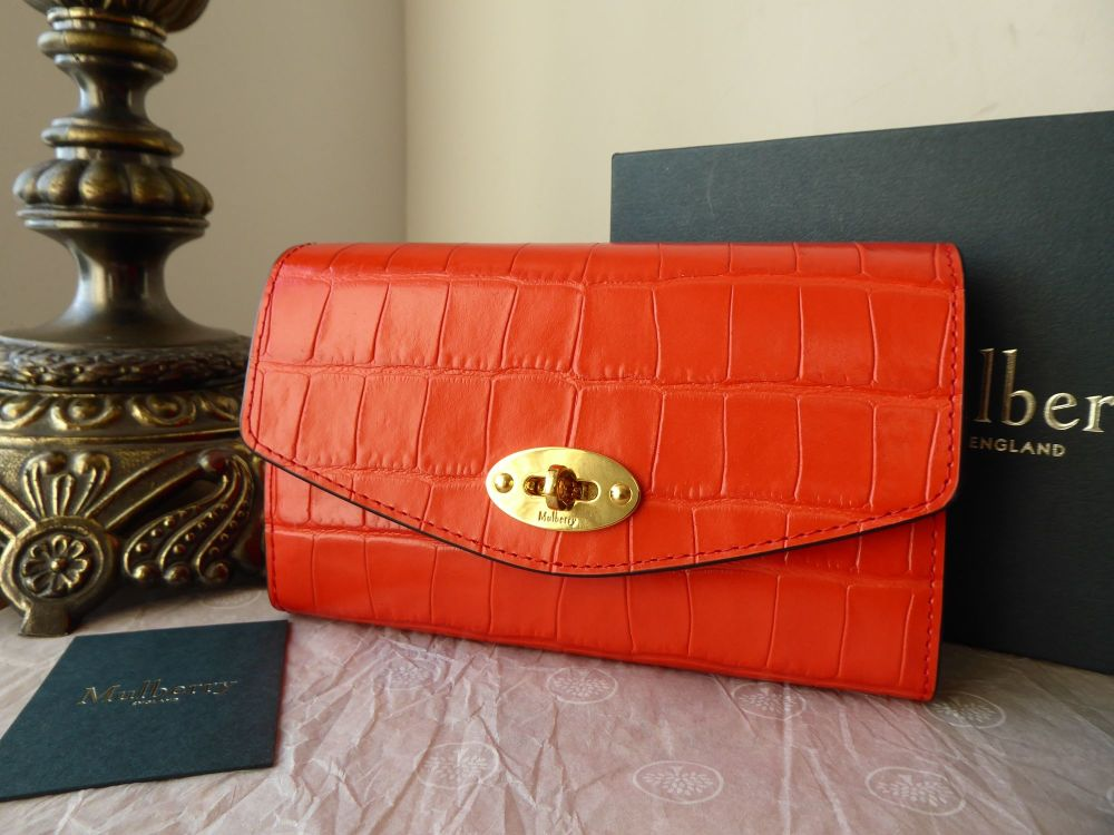 Mulberry Darley Medium Wallet Purse in Hibiscus Red Croc Printed Leather  -