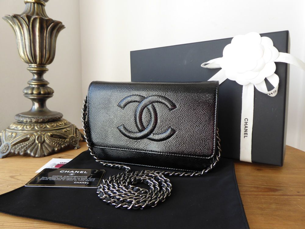 Chanel Timeless Wallet on Chain WOC Flap Bag in Black Electric Patent Cavia