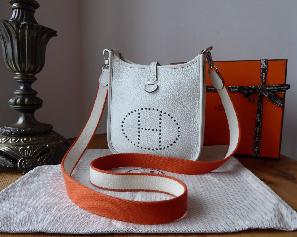 Hermés Evelyne III TPM Mini 16 in White Taurillon Clemence with Two Tone Fl
