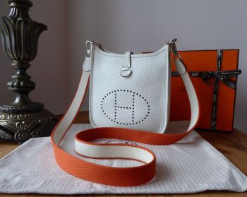 Hermés Evelyne III TPM Mini 16 in White Taurillon Clemence with Two Tone Flame Feu Strap