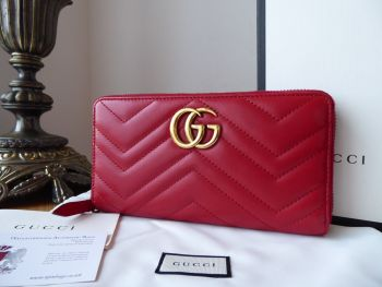 Gucci GG Marmont Zip Around Continental Wallet Purse in Apollo Red Matelassé Calfskin - SOLD