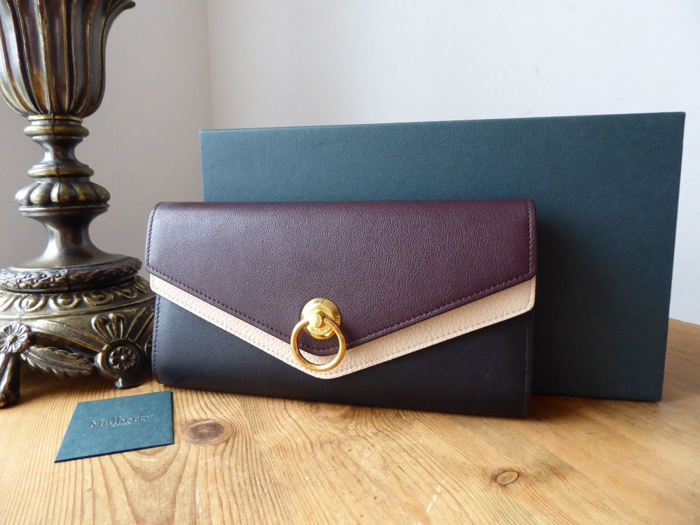Mulberry Harlow Long Continental Purse Wallet in Tricolore Black Oxblood Ro