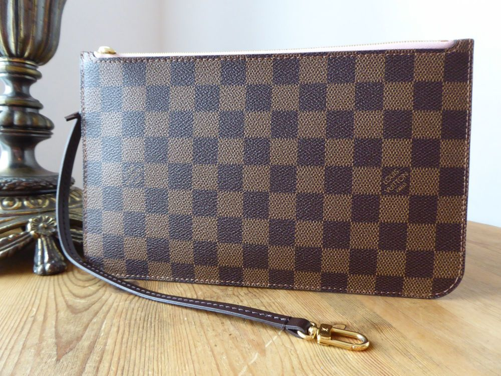 Louis Vuitton Zip Pouch from Neverfull MM in Damier Ebene with Rose Balleri