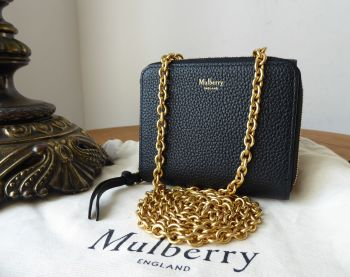 Mulberry Small Clifton Wallet on Chain Purse in Black Small Classic Grain Leather - SOLD