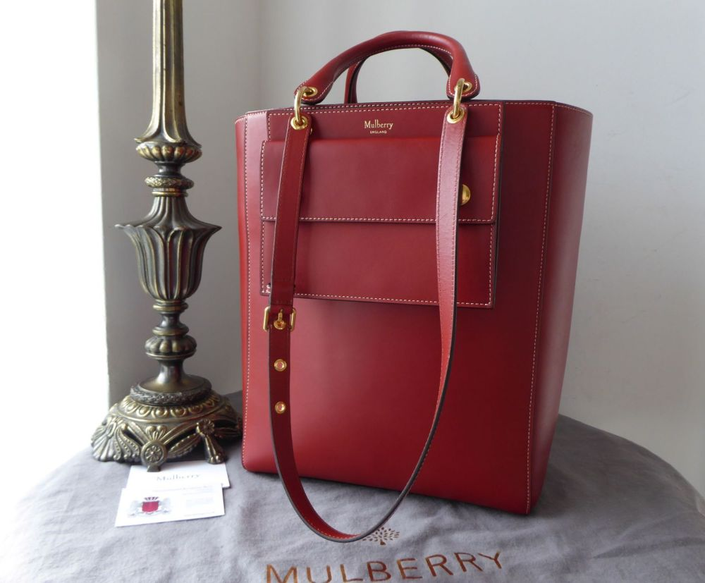 Mulberry Large Maple Tote with Pouch in Rust Sleek Calf and Felt Liner