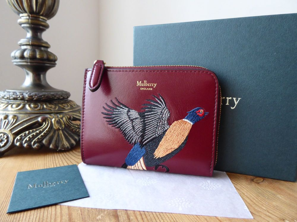Mulberry Pheasant Embroidered Part Zip Coin Purse in Crimson Smooth Calf -
