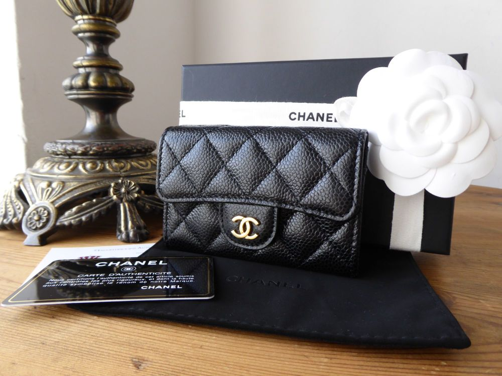 Chanel Classic Flap Card Purse in Black Caviar with Gold Hardware - New
