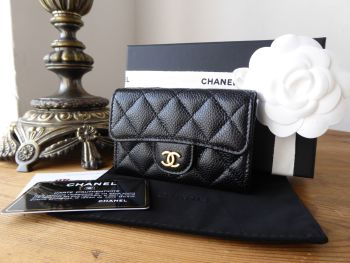 Chanel Classic Flap Card Purse in Black Caviar with Gold Hardware - SOLD