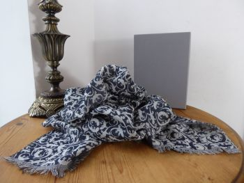 Mulberry Gecko Jacquard Scarf Wrap in Slate Grey Wool Mix - SOLD