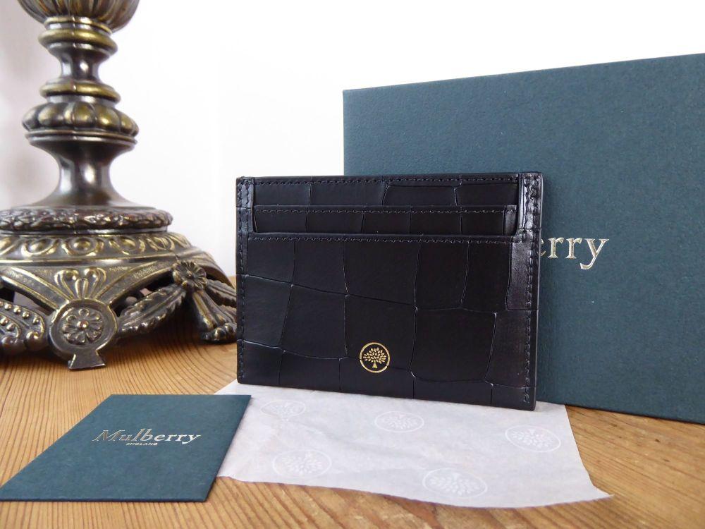 Mulberry Credit Card Slip Holder in Black Deep Embossed Croc Printed Calfsk