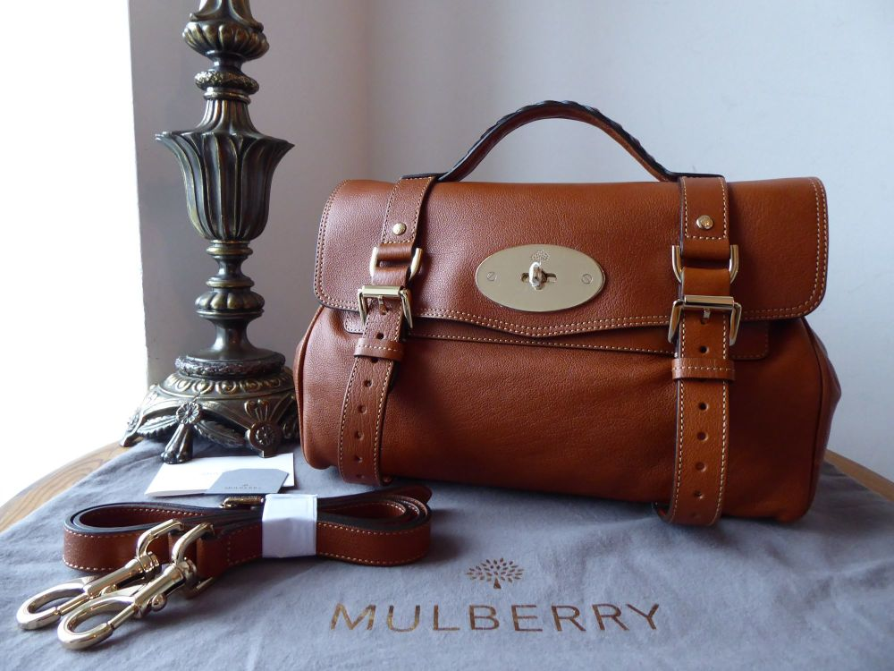 Mulberry Regular Alexa Satchel in Oak Polished Buffalo New