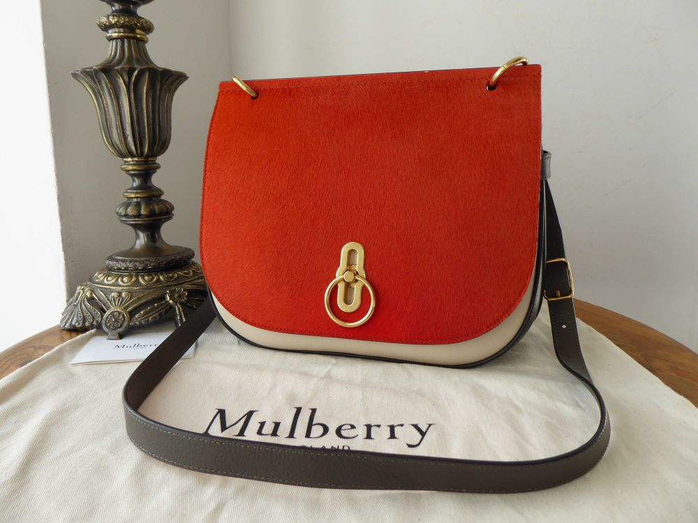 Mulberry Amberley Satchel in Pumpkin Haircalf with Dark Clay & Chalk Silky