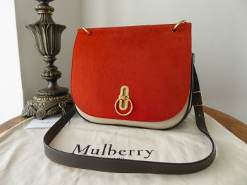 Mulberry Amberley Satchel in Pumpkin Haircalf with Dark Clay & Chalk Silky Calf