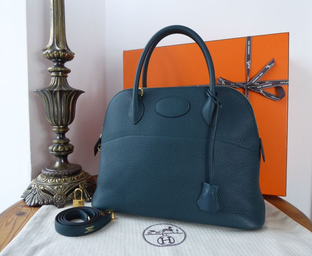 Hermés Bolide 31 in Vert Cypress Clemence with Gold Hardware  - New