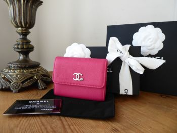 Chanel Coin Card Purse Wallet in Fushia Calfskin with  Shiny Silver Hardware & Turquoise Feature CC - SOLD