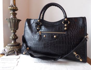 Balenciaga City in Black Croc Embossed Calfskin with Giant 12 Gold Hardware - SOLD