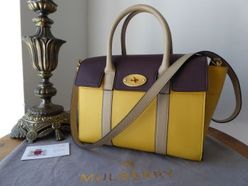 Mulberry Small Bayswater in Oxblood, Dune & Sunflower Smooth Calf