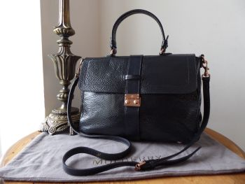 Mulberry Harriet Satchel in Nightshade Blue Spongy Patent Leather with Rose Gold Hardware - SOLD