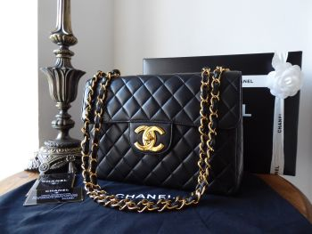 Chanel Vintage Jumbo Single Flap Bag in Black Lambskin with Gold Hardware - SOLD