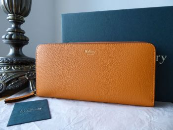 Mulberry 8 Card Zip Around Continental Wallet Purse in Autumn Gold Small Classic Grain - SOLD
