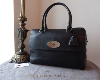 Mulberry Del Rey in Black Glossy Goat with Shiny Silver Nickel Hardware - SOLD