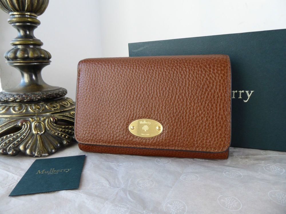 Mulberry Plaque Medium French Purse Wallet in Oak Grain Vegetable Tanned Le
