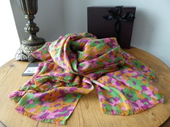 Mulberry Clover Camo Large Printed Rectangular Scarf Wrap in Hot Fuchsia Brights Bamboo & Soya Mix - New*