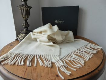 Mulberry Classic 100% Cashmere Fringed Winter Rectangular Scarf in Ivory - New