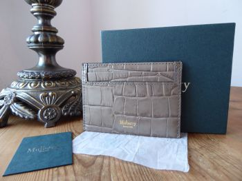 Mulberry Credit Card Slip Holder in Coriander Deep Embossed Croc Printed Calfskin - New
