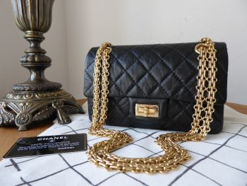 Chanel Rectangular Mini 2.55 Reissue in Black Distressed Calfskin with Shiny Gold Hardware - SOLD