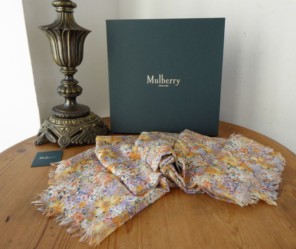 Mulberry Betty Floral Square Wrap in Lilac Silk Modal Mix - New