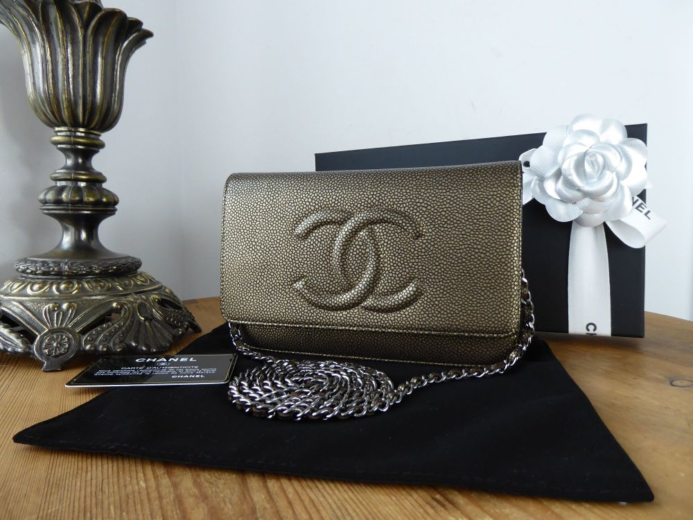 Chanel Timeless Wallet on Chain WoC in Metallic Bronze Caviar with Dark Shi