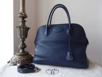Hermés Bolide 35 in Bleu Abysse Clemence with Palladium Hardware