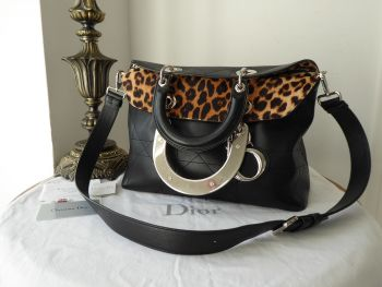 Dior Diorama Granville Soft Tote in Cannage Stiched Lambskin with Leopard Printed Haircalf Lining - SOLD