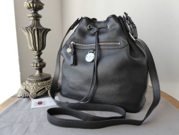 Mulberry Somerset Drawstring Bucket Bag in Black Pebbled Leather with Silver Hardware - SOLD