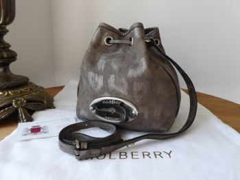 Mulberry Mini Gracie Drawstring Bucket Bag in Mole Grey Giant Sparkle Leopard Printed Leather - SOLD