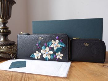 Mulberry 'Winter Blooms' Embroidered Flowers Long Part Zip Wallet -  SOLD