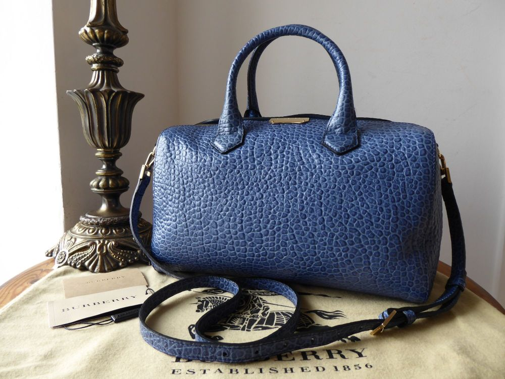 Burberry Heritage Alchester Bowling Bag in Steel Blue Shrunken Calfskin