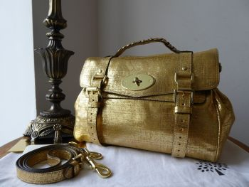 Mulberry Selfridges Limited Edition Alexa Satchel in Metallic Gold Distressed Leather