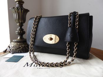 Mulberry Medium Lily in Black Glossy Goat with Shiny Gold Hardware - SOLD