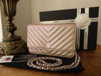 Chanel Wallet on Chain in Light Rose Gold Iridescent Pearlised Caviar with Silver Hardware - SOLD
