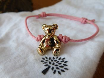 Mulberry Teddy Bear Friendship Bracelet with Baby Pink Waxed Cord - SOLD