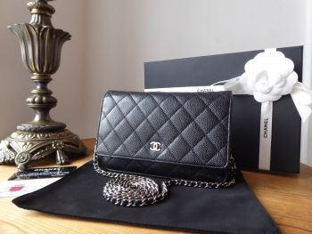 Chanel Classic Wallet on Chain WoC in Black Caviar with Shiny Silver Hardware - SOLD
