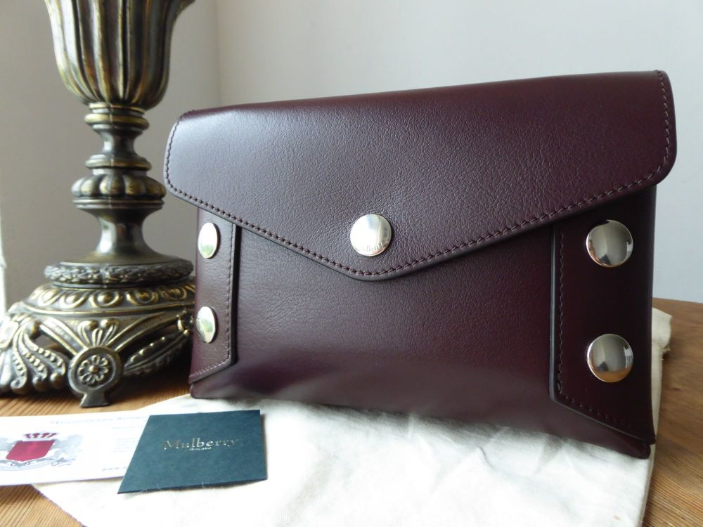 Mulberry Studded Envelope Clutch Pouch in Oxblood Smooth Calf Leather