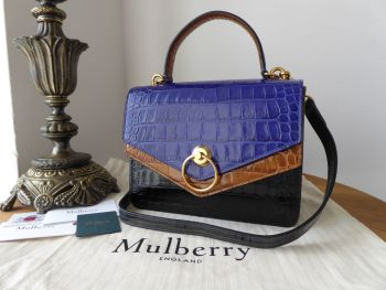 Mulberry Limited Edition Harlow Satchel in Cobalt Blue, Seal Grey, Tobacco and Black Shiny Croc Printed Leather - As New*