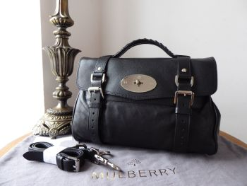 Mulberry Regular Alexa Satchel in Black Polished Buffalo with with Shiny Silver Nickel Hardware & Burgundy Multi Pocket Felt Liner - New*