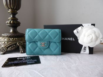 Chanel Classic Flap Coin Card Purse in Tiffany Blue Turquoise Lambskin with Shiny Silver Hardware